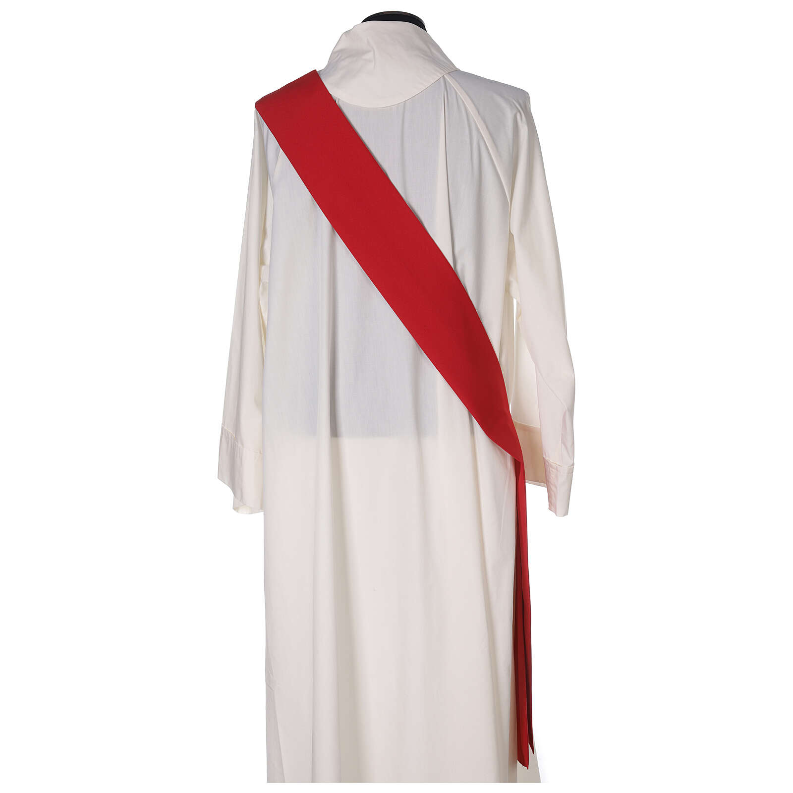 Dalmatic in polyester with gallon applied on the front, Vatican fabric 4
