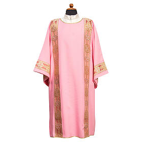 Dalmatic in polyester with gallon applied on the front, Vatican fabric s1