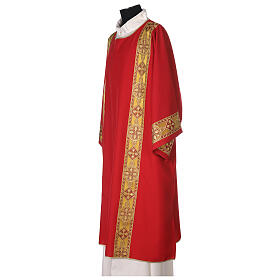 Dalmatic in polyester with gallon applied on the front, Vatican fabric s3