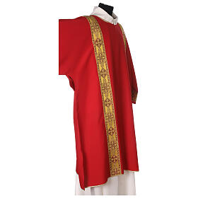 Dalmatic in polyester with gallon applied on the front, Vatican fabric s4