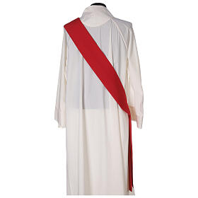 Dalmatic in polyester with gallon applied on the front, Vatican fabric s7