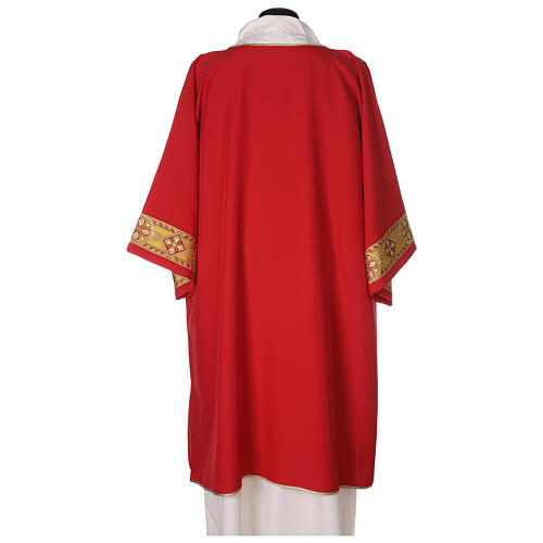 Dalmatic in polyester with gallon applied on the front, Vatican fabric 5