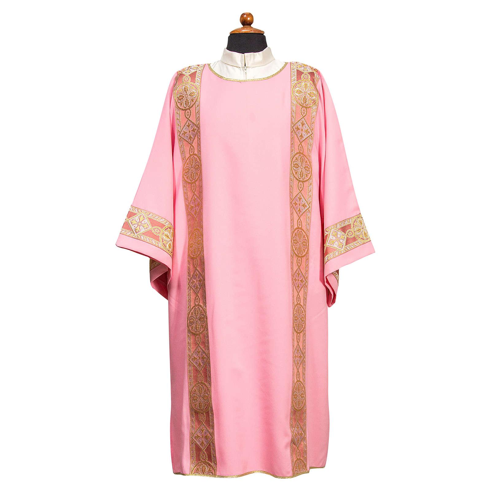 Dalmática galão aplicado na frente tecido Vatican poliéster 4