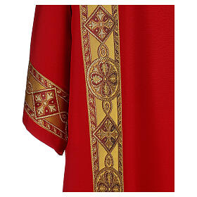 Deacon Dalmatic in polyester with gallon applied on the front, Vatican fabric s2