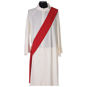 Deacon Dalmatic in polyester with gallon applied on the front, Vatican fabric s6