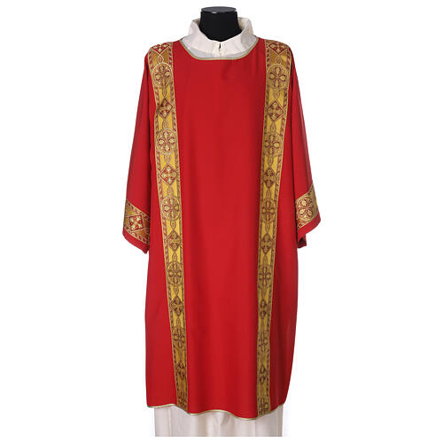 Deacon Dalmatic in polyester with gallon applied on the front, Vatican fabric 1