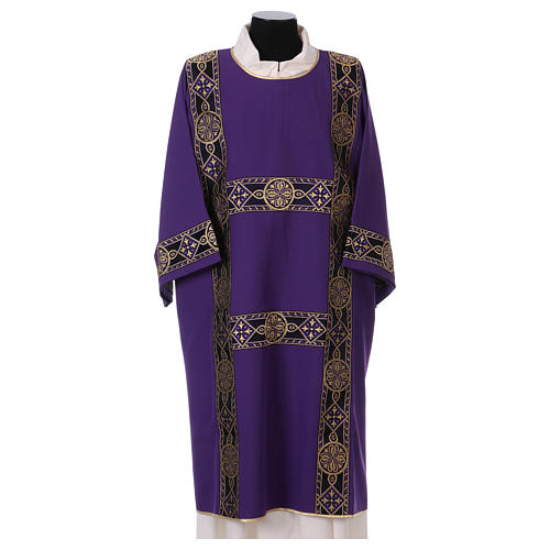 Dalmatic with decoration trim on front, Vatican fabric 100% polyester 1