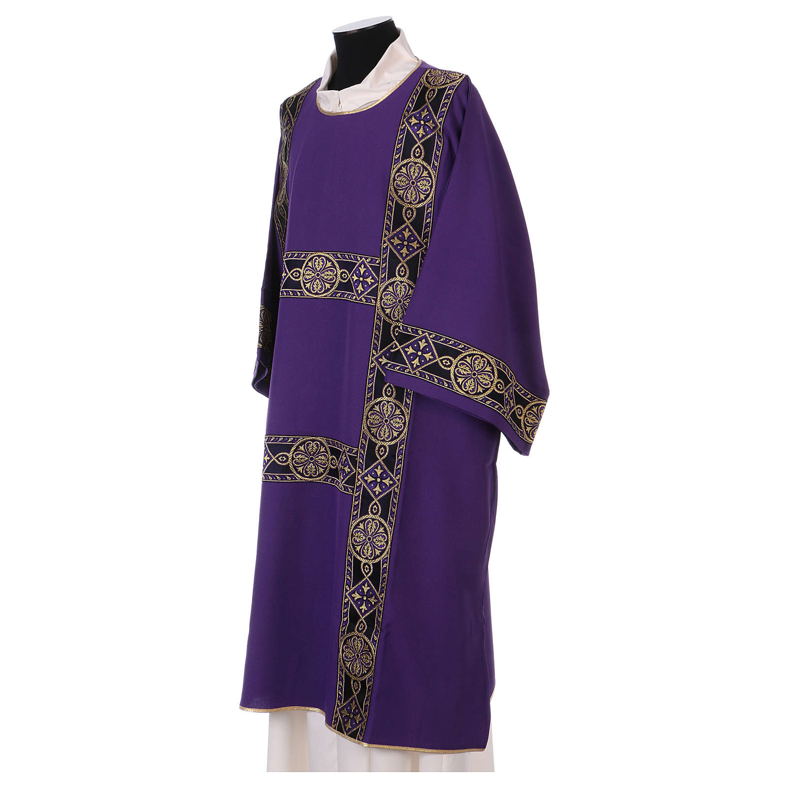 Dalmatique bande appliquée avant tissu Vatican 100% polyester 4