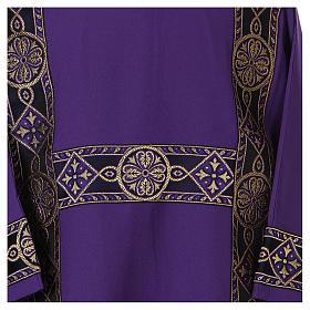 Dalmatique bande appliquée avant tissu Vatican 100% polyester s2