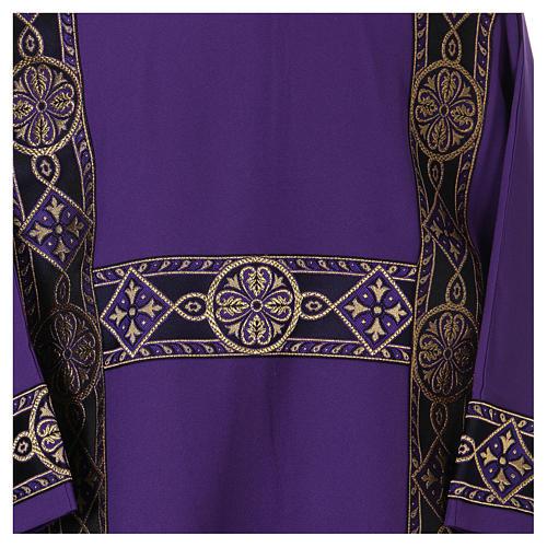 Dalmatique bande appliquée avant tissu Vatican 100% polyester 2