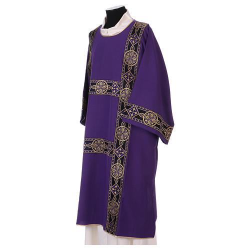Dalmatique bande appliquée avant tissu Vatican 100% polyester 3