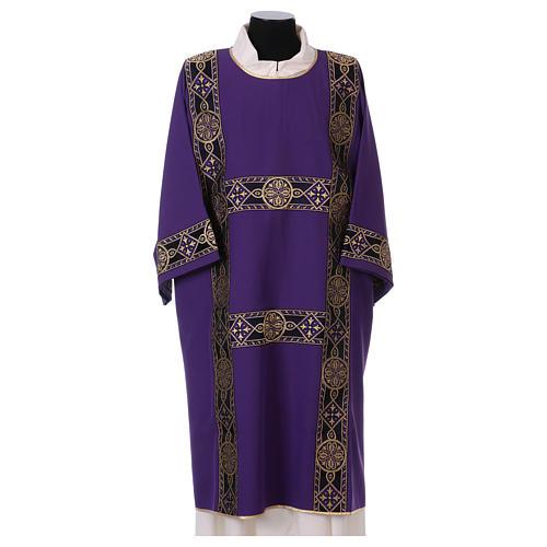 Dalmatica gallone applicato solo davanti tessuto Vatican 100% poliestere 1