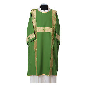 Dalmatic with decoration trim on front made in Vatican fabric 100% polyester s3