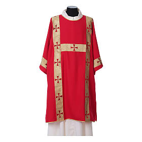 Dalmatic with decoration trim on front made in Vatican fabric 100% polyester s4