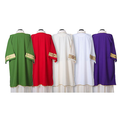 Dalmatic with decoration trim on front made in Vatican fabric 100% polyester 2
