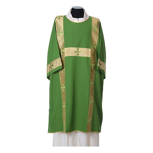 Dalmatic with decoration trim on front made in Vatican fabric 100% polyester 3