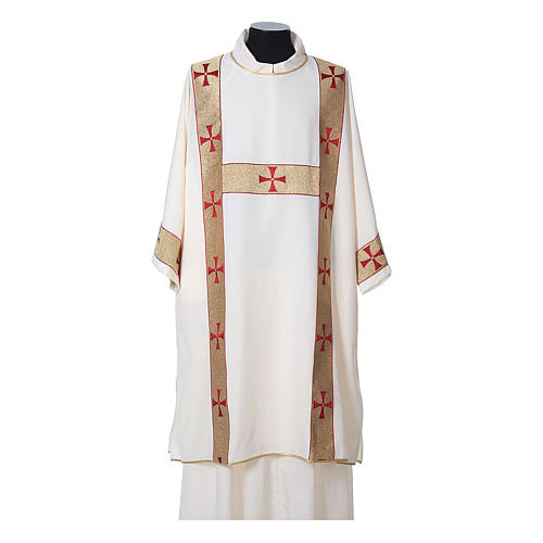 Dalmatic with decoration trim on front made in Vatican fabric 100% polyester 5