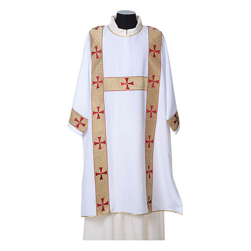 Dalmatic with decoration trim on front made in Vatican fabric 100% polyester 6