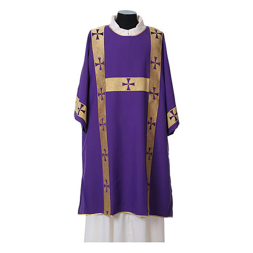 Dalmatic with decoration trim on front made in Vatican fabric 100% polyester 7