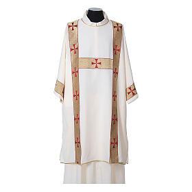 Dalmatica tessuto 100% poliestere Vatican gallone applicato fronte s5