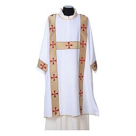 Dalmatica tessuto 100% poliestere Vatican gallone applicato fronte s6