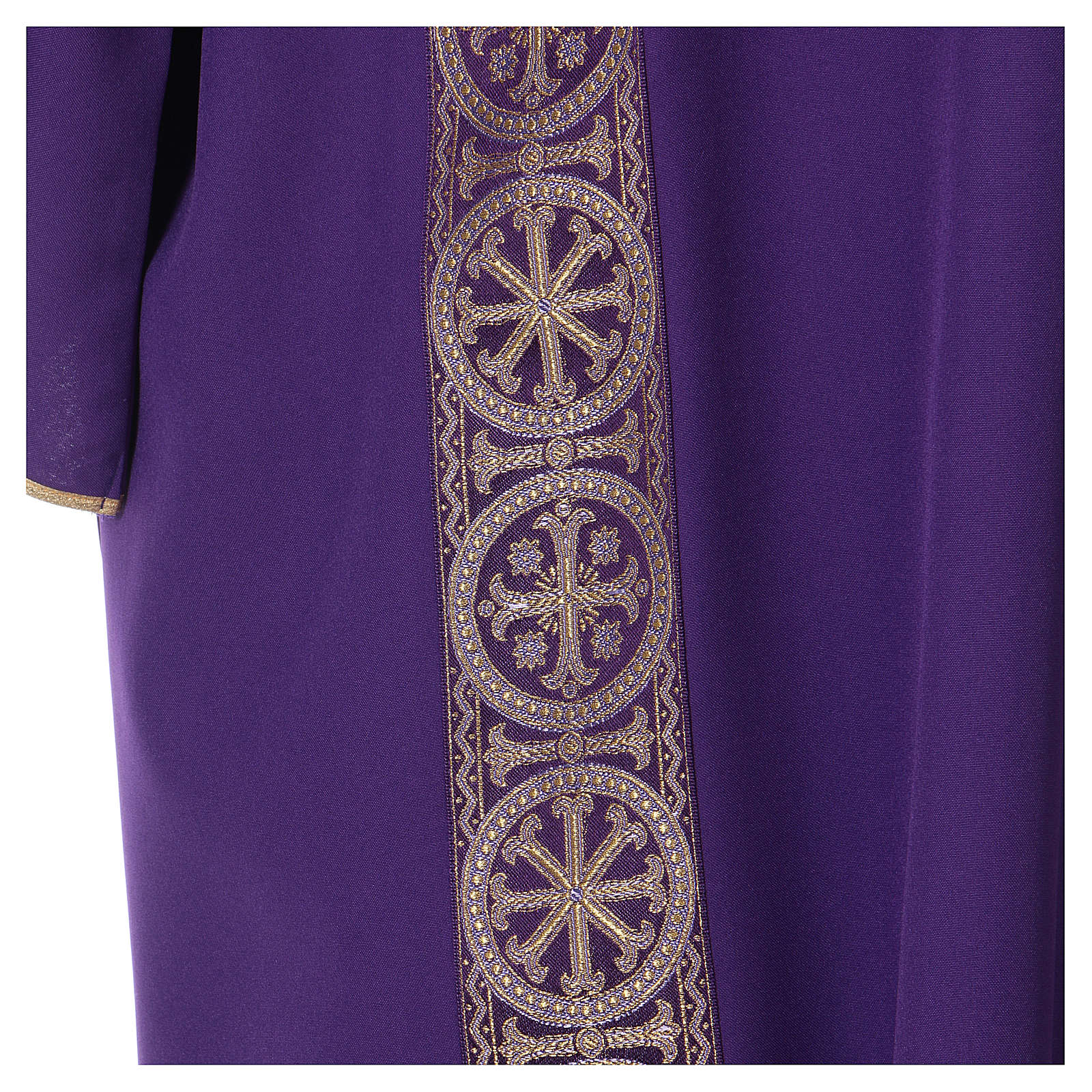 Dalmatic with decoration trim on front and back made in Vatican fabric 100% polyester 4