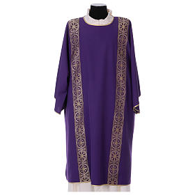 Dalmatic with decoration trim on front and back made in Vatican fabric 100% polyester s1