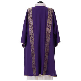 Dalmatic with decoration trim on front and back made in Vatican fabric 100% polyester s4