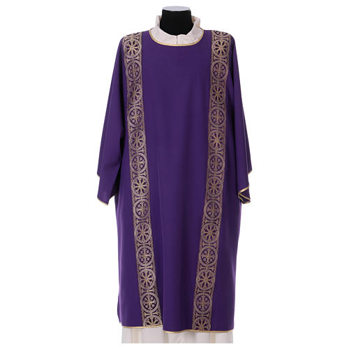 Dalmatic with decoration trim on front and back made in Vatican fabric 100% polyester 1
