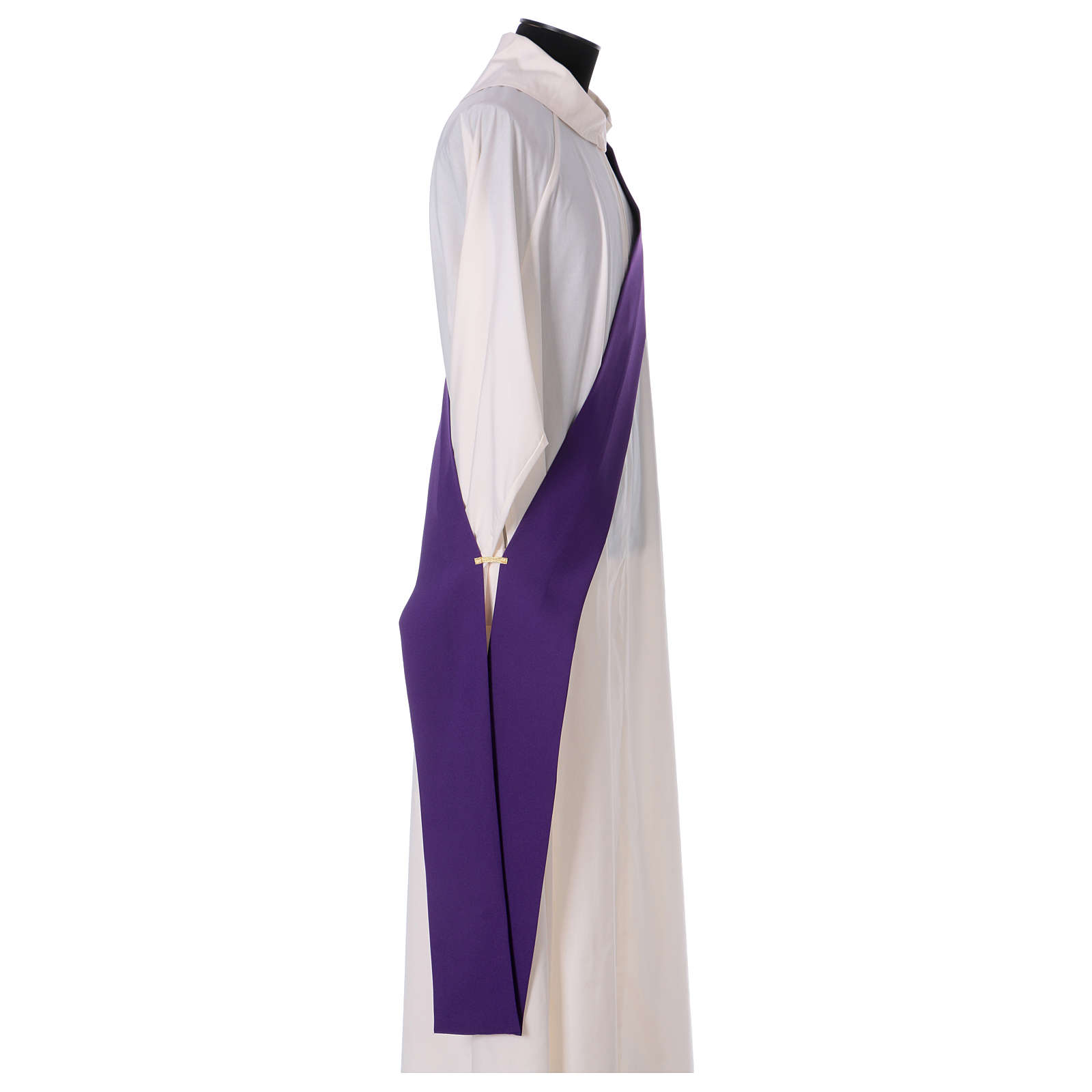 Dalmatique bande appliquée avant arrière tissu Vatican 100% polyester 4