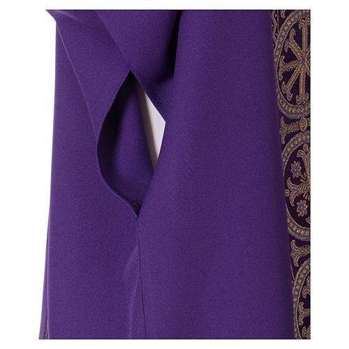 Dalmatique bande appliquée avant arrière tissu Vatican 100% polyester 5