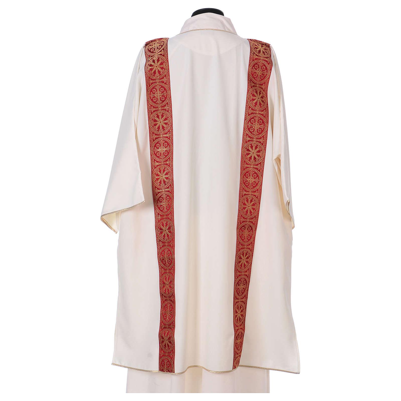 Dalmatica gallone applicato fronte retro tessuto 100% poliestere Vatican 4