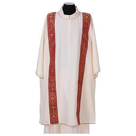 Dalmatica gallone applicato fronte retro tessuto 100% poliestere Vatican s1