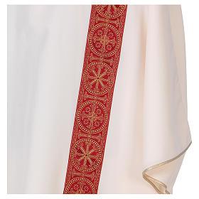 Dalmatica gallone applicato fronte retro tessuto 100% poliestere Vatican s2