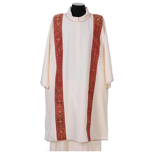 Dalmatica gallone applicato fronte retro tessuto 100% poliestere Vatican 1