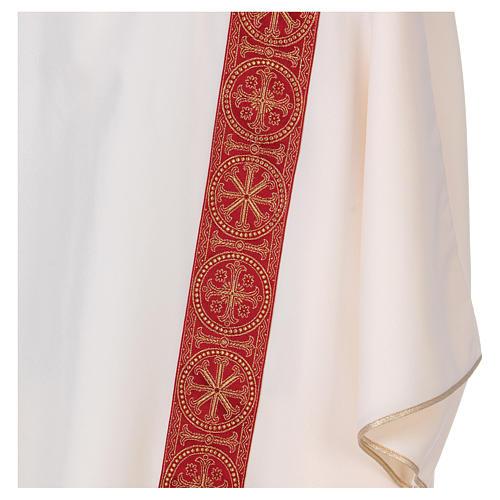 Dalmatica gallone applicato fronte retro tessuto 100% poliestere Vatican 2