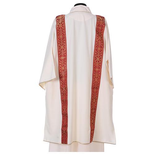Dalmatica gallone applicato fronte retro tessuto 100% poliestere Vatican 3