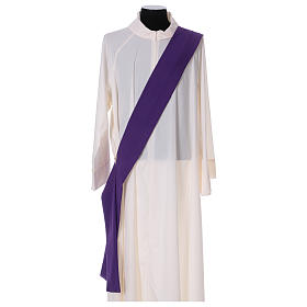 Eucharistic Dalmatic with decoration trim on front and back made in Vatican fabric 100% polyester s6