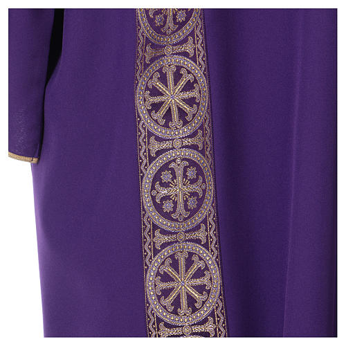 Eucharistic Dalmatic with decoration trim on front and back made in Vatican fabric 100% polyester 2