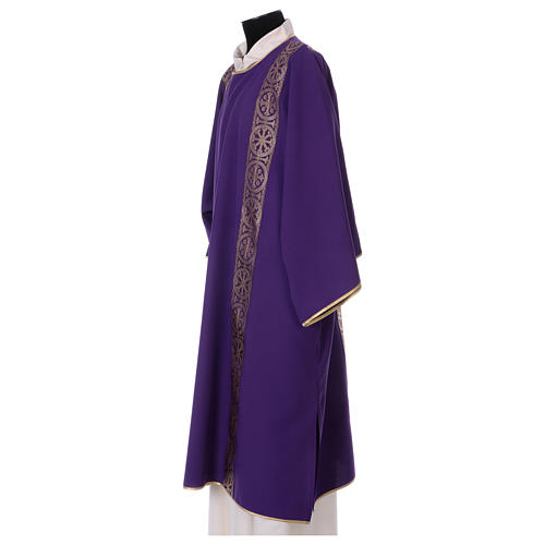 Eucharistic Dalmatic with decoration trim on front and back made in Vatican fabric 100% polyester 3