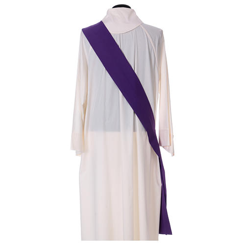 Eucharistic Dalmatic with decoration trim on front and back made in Vatican fabric 100% polyester 8