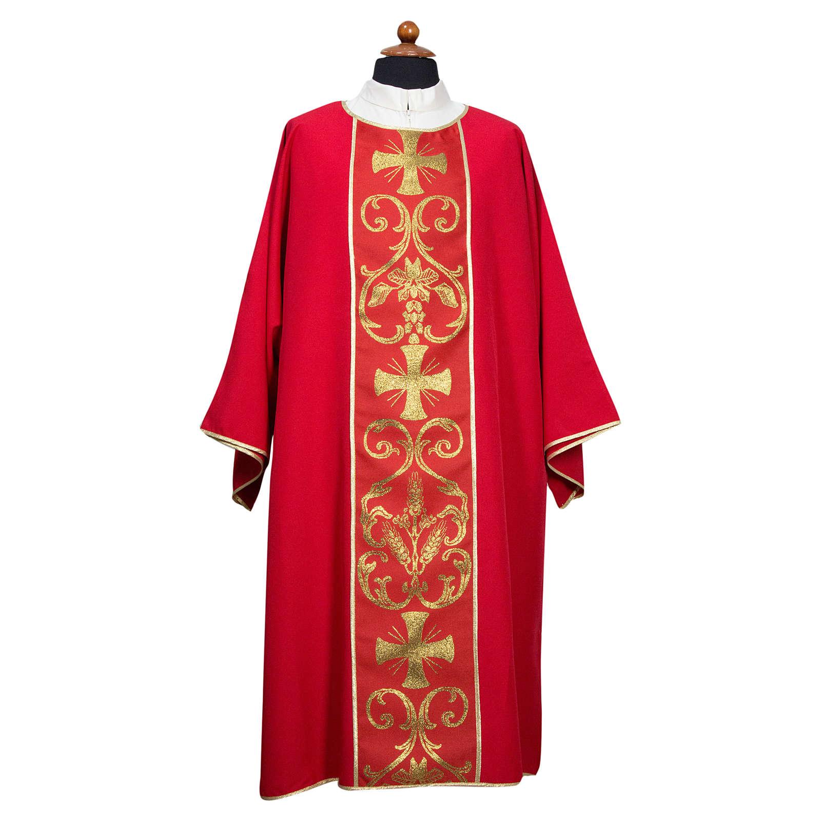 Dalmatica stolone applicato su fronte tessuto 100% poliestere Vatican 4