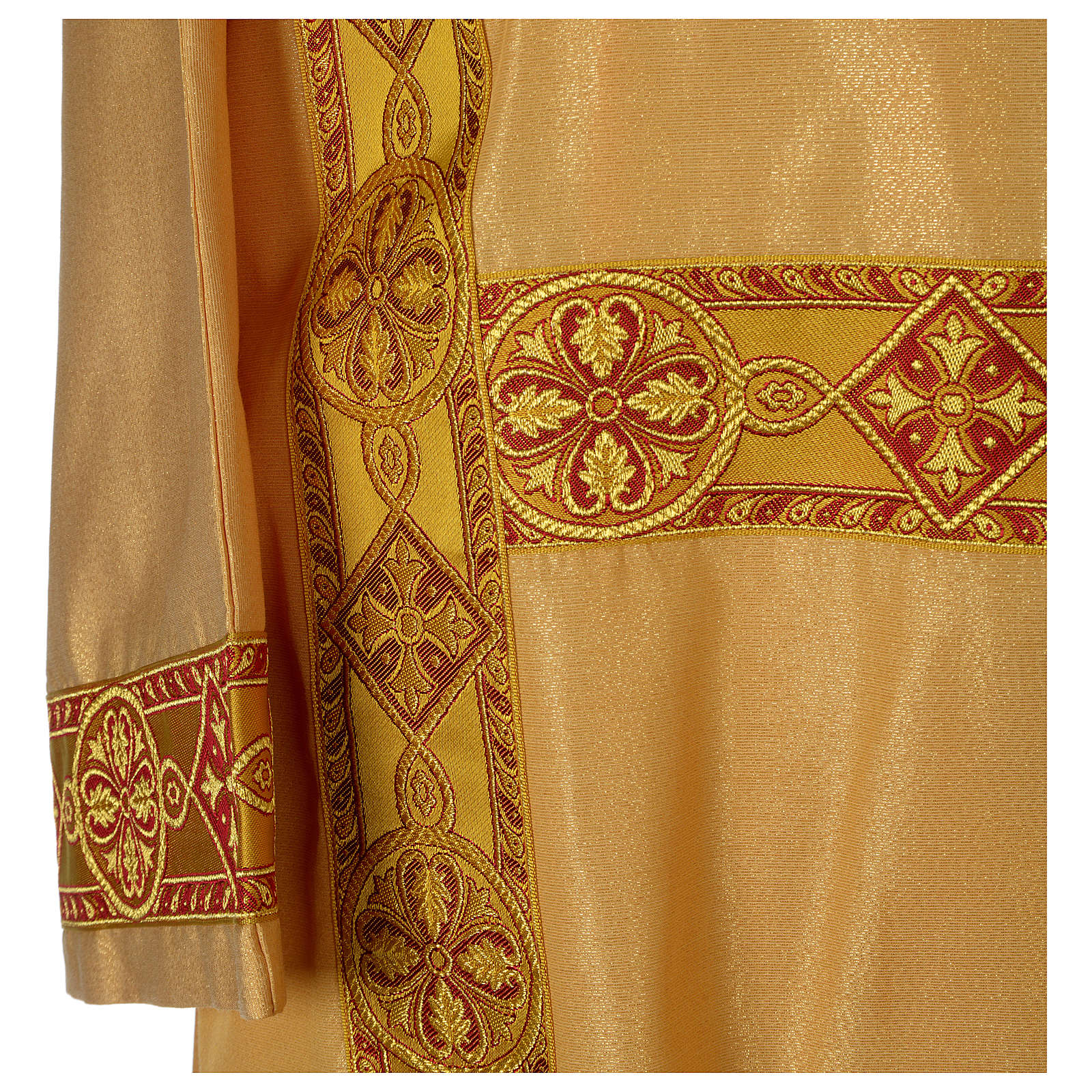 Dalmatica oro faille rigato mezza lana applicazione gallone fronte retro 4