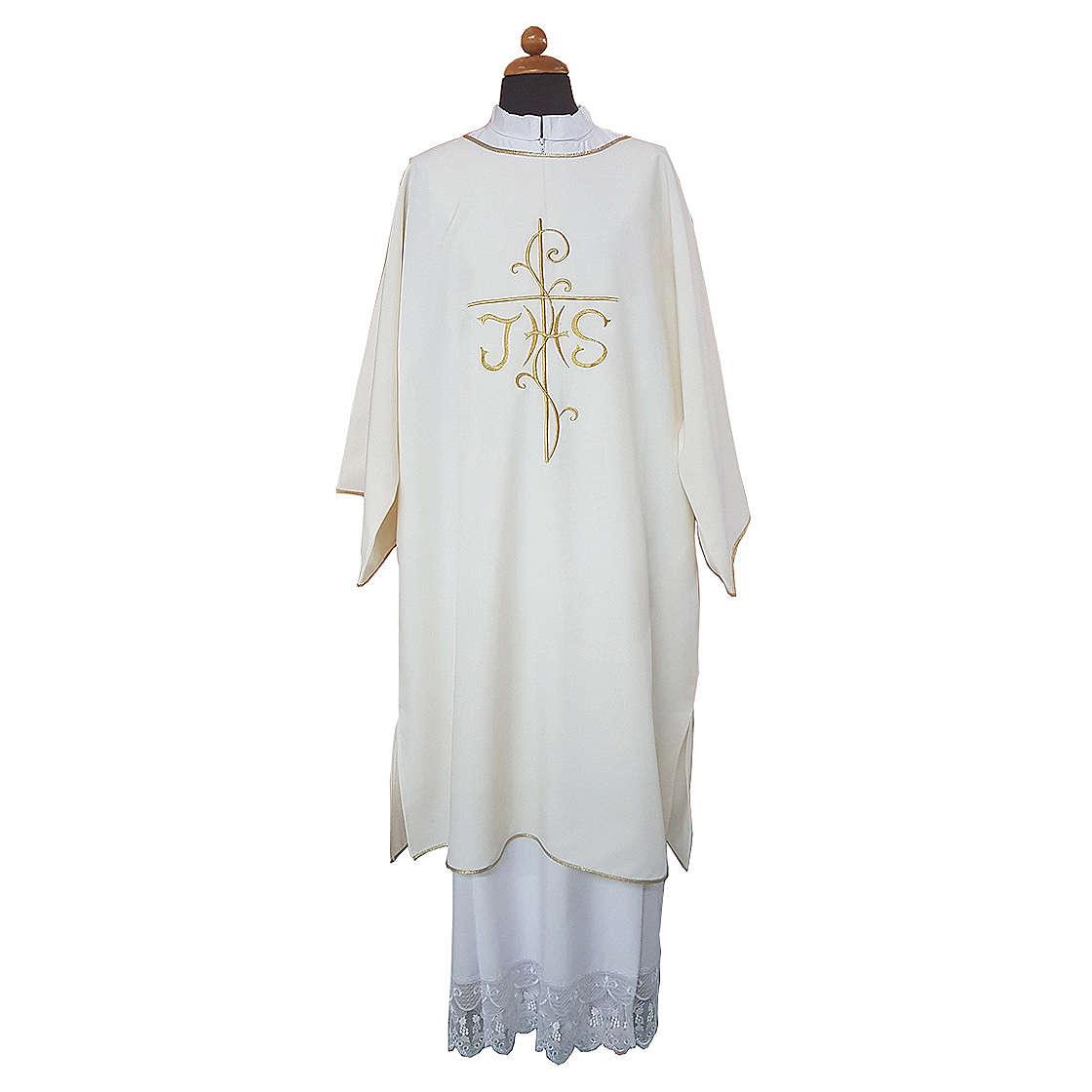 Dalmatica ricamo croce JHS davanti e dietro tessuto Vatican 100% poliestere 4