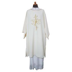 Dalmatica ricamo croce JHS davanti e dietro tessuto Vatican 100% poliestere s1