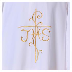 Dalmatica ricamo croce JHS davanti e dietro tessuto Vatican 100% poliestere