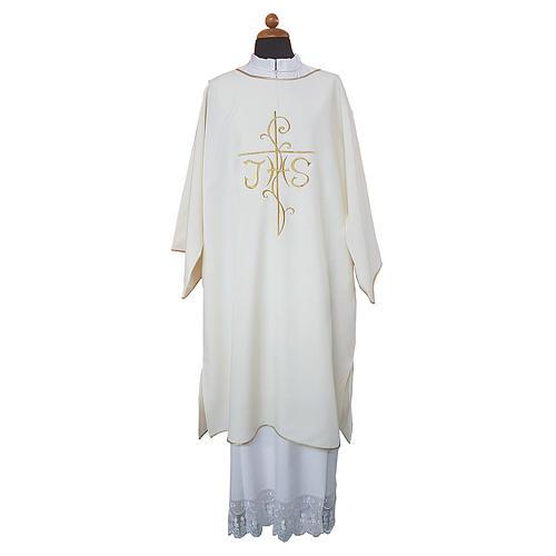 Dalmatica ricamo croce JHS davanti e dietro tessuto Vatican 100% poliestere 1
