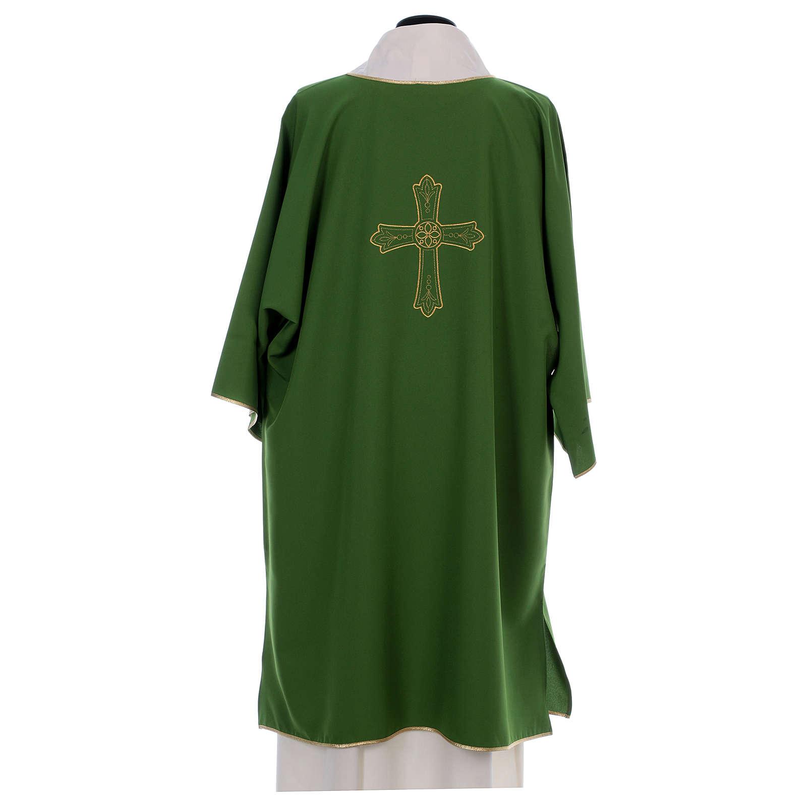 Dalmática bordado cruz flor parte anterior posterior tejido Vatican 100% poliéster 4