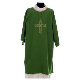 Dalmática bordado cruz flor parte anterior posterior tejido Vatican 100% poliéster s1
