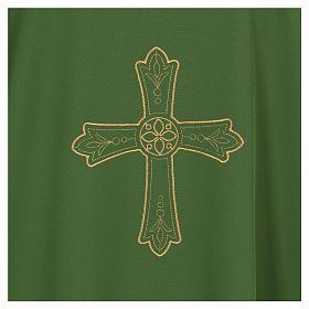Dalmática bordado cruz flor parte anterior posterior tejido Vatican 100% poliéster s2